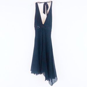 Anthropologie Weston Wear Black Bead Halter Dress